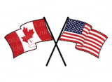 Canadian American Crossed Flag Decal