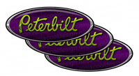 Chartreuse Purple Chrome Peterbilt Emblem Skins