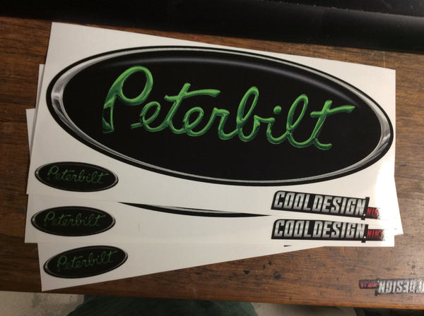 In-Stock Special - Green Black and Chrome Peterbilt Emblem Skin 3-Pack