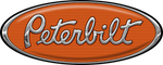 Orange and Chrome Peterbilt Hood Logo Skins