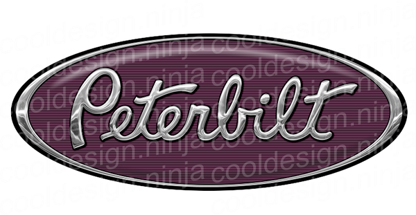 Chrome Purple White Peterbilt Emblem Skins