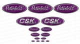 3-Pack of Purple/Grey C&K Peterbilt Emblem Skins