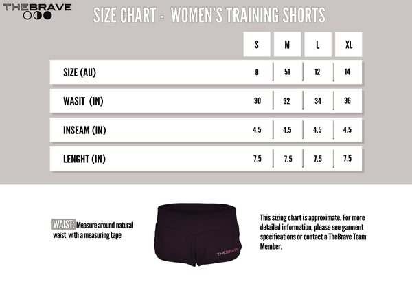 Size Chart - Women's Training Shorts