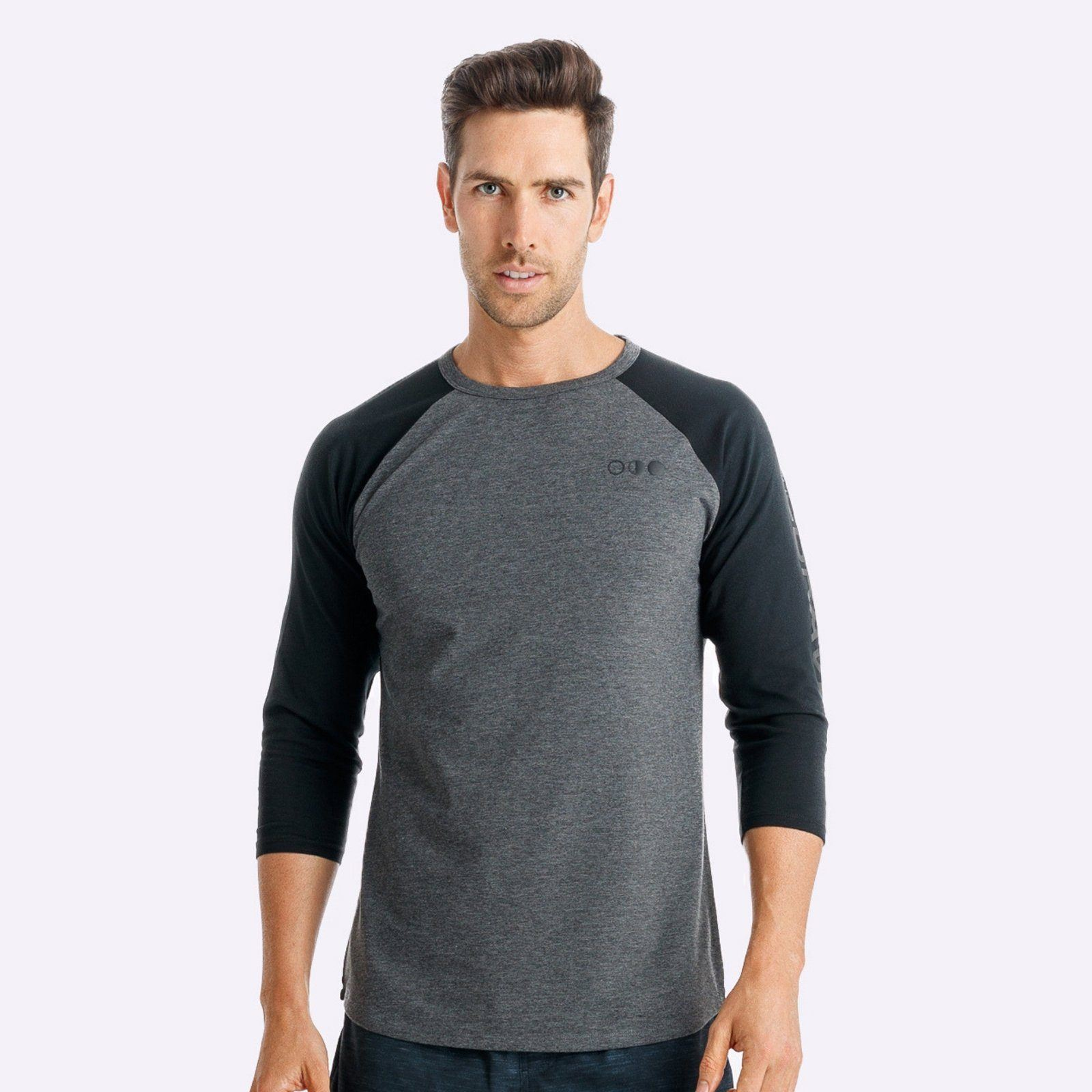 The Brave - Men's Adventure Raglan Shirt - Charcoal Marle/Black/Black
