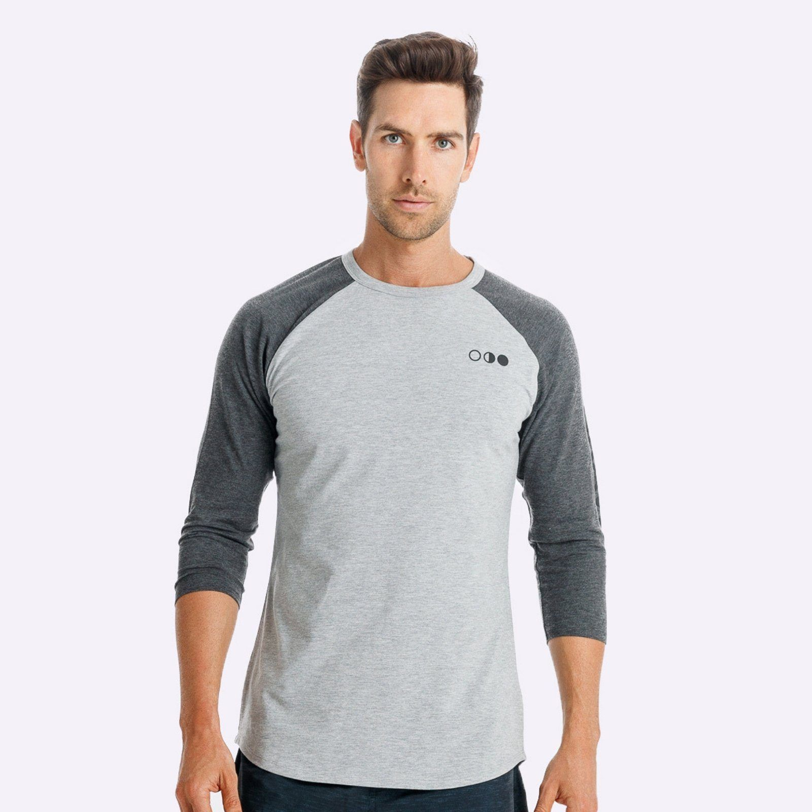The Brave - Men's Adventure Raglan Shirt - Light Grey Marle/Charcoal Marle