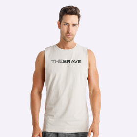 The Brave - Men's Waverider Muscle Tank - Stone/Black