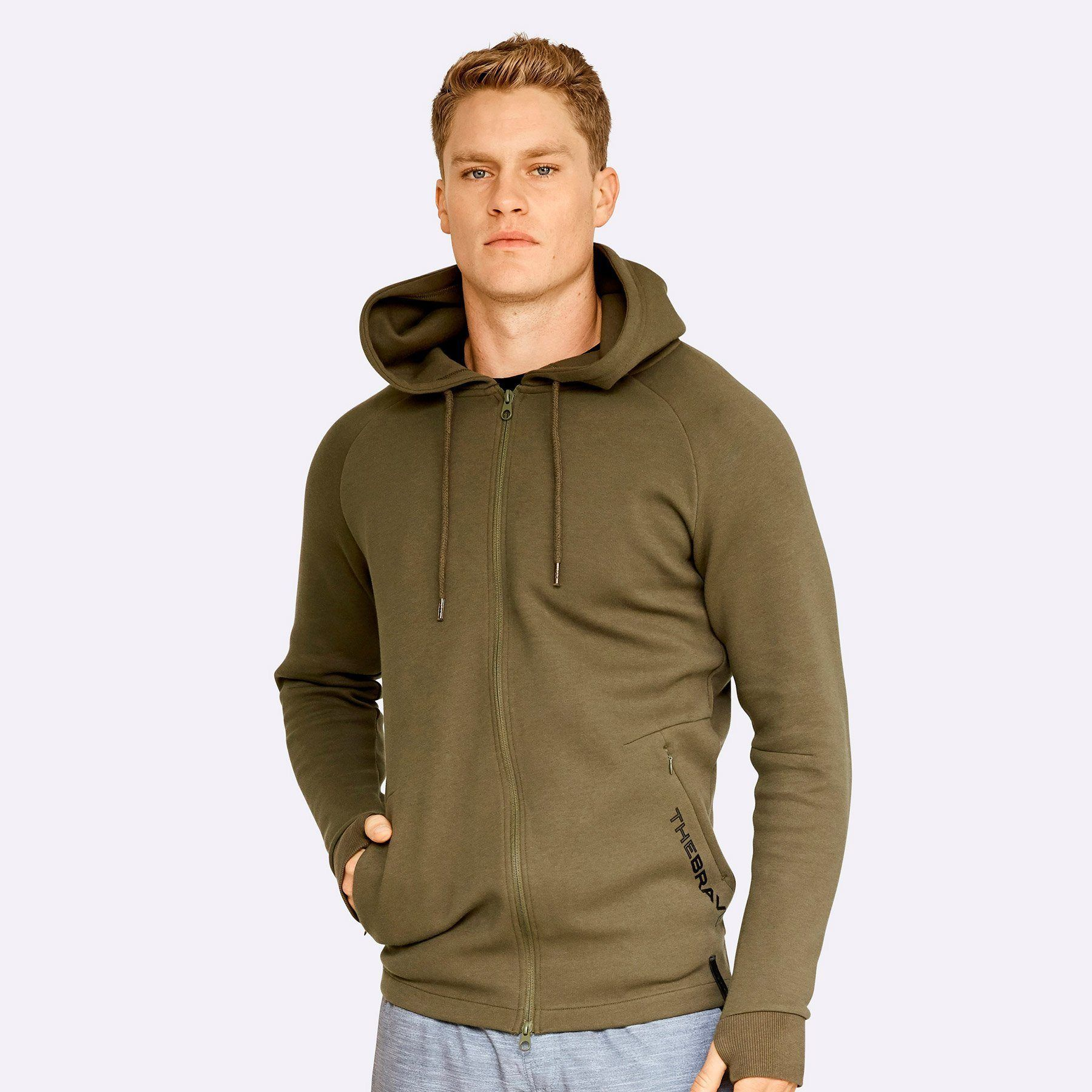 The Brave - Men's Zip Through Hoodie - Dark Olive