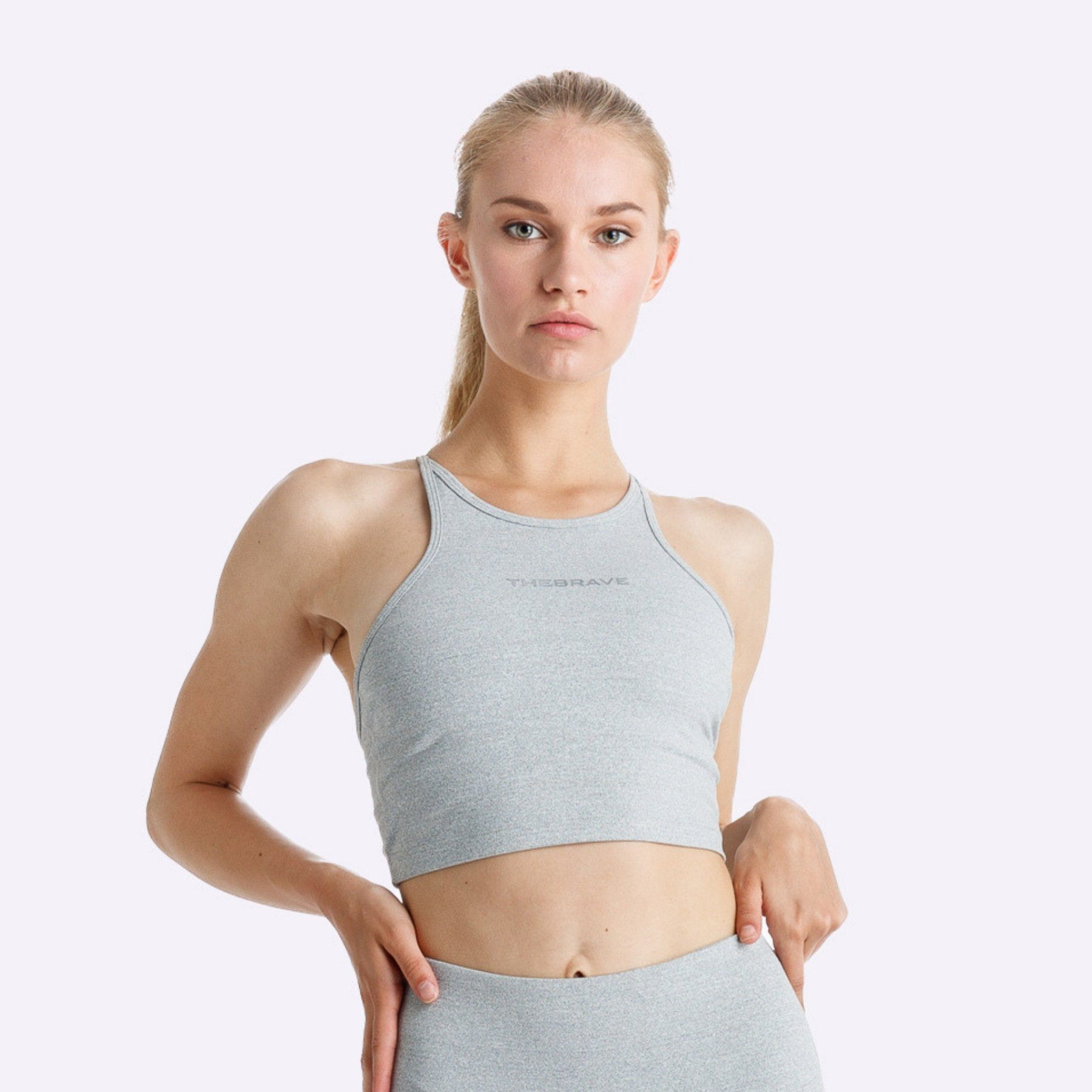 The Brave - Elevate Crop Top - Light Grey Marle