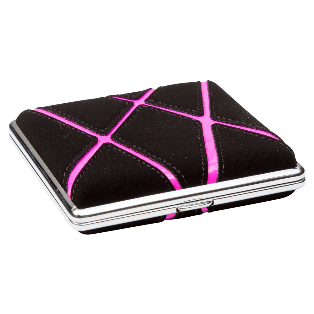 Cigarette Case Black With Pink Graphic Stripes