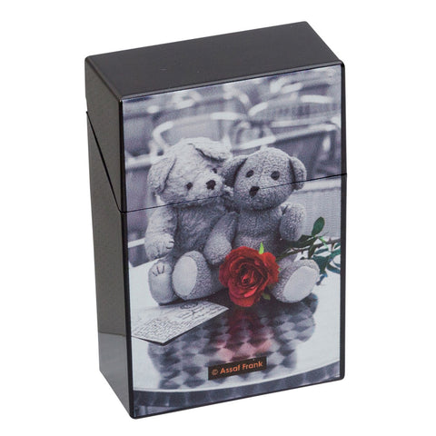 Cigarette Case Paris Red & Black Plastic Flip Top Teddies