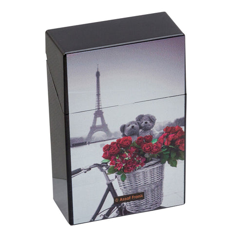 Cigarette Case Paris Red & Black Plastic Flip Top Eiffel Tower