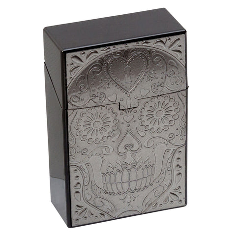 Cigarette Case Candy Skull Grey