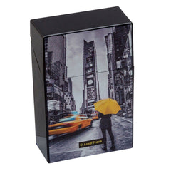 Cigarette Case City Yellow & Black Plastic Flip Top Umbrella Design