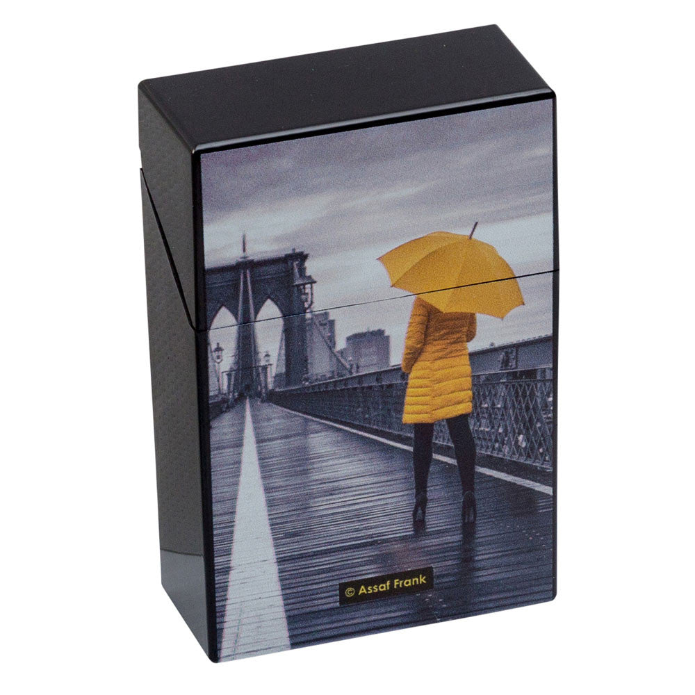 Cigarette Case City Yellow & Black Plastic Flip Top Raincoat Design