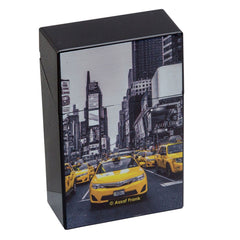 Cigarette Case City Yellow & Black Plastic Flip Top Taxi Design