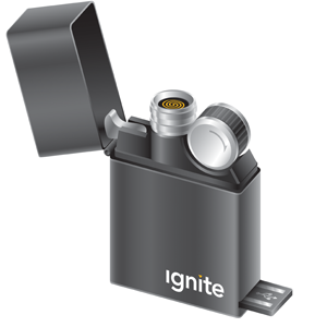 Ignite USB Rechargeable Black Envy Square Lighter