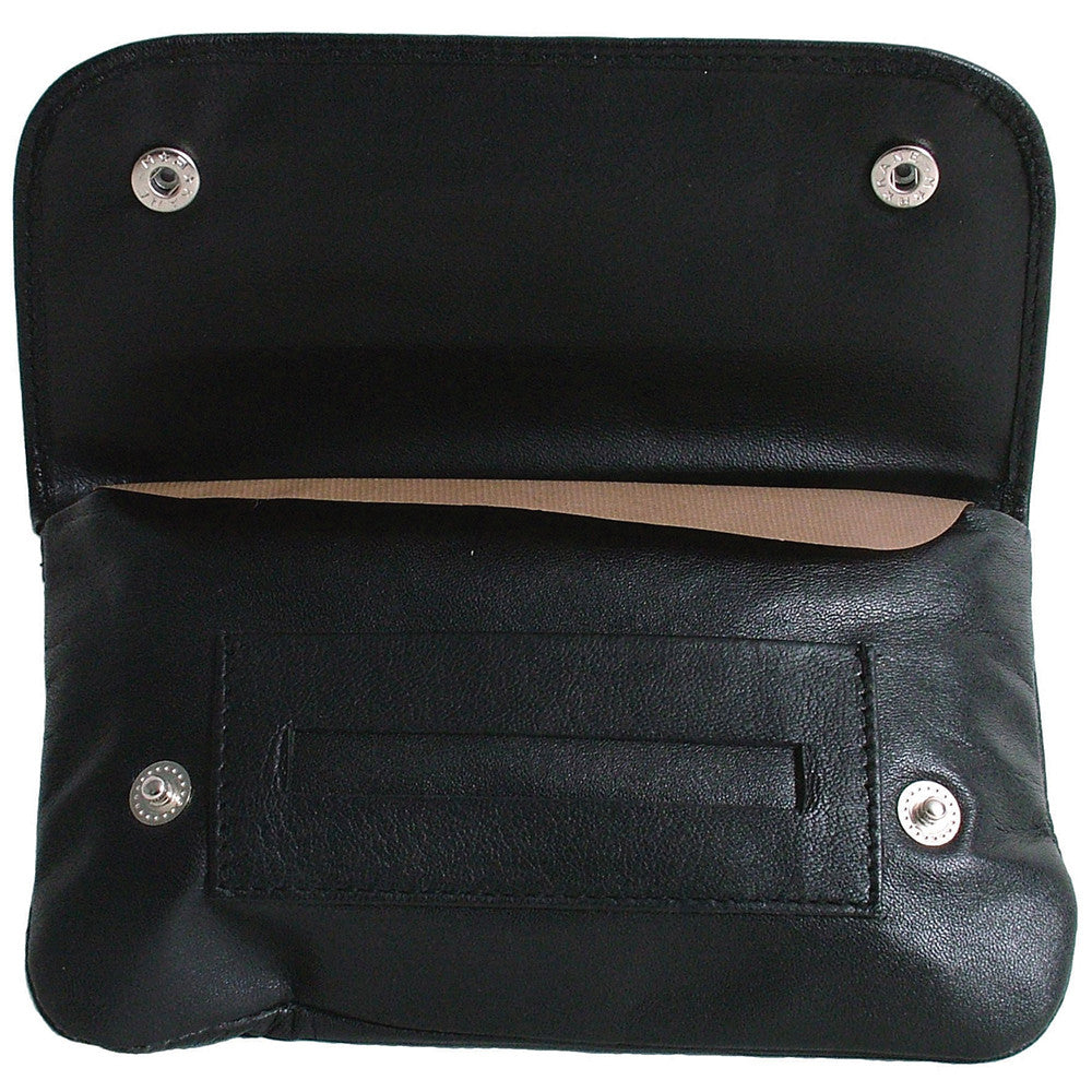 Black Tobacco Pouch with Rolling Paper Dispenser