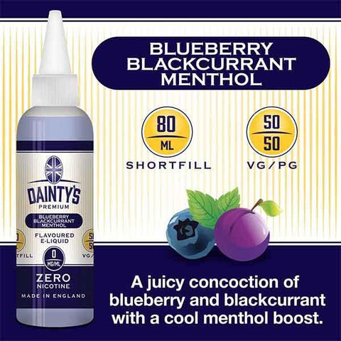Daintys Blueberry Blackcurrant Menthol Juice 80ml - PRE ORDER
