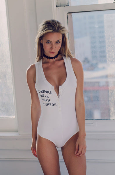 Drinks Well Bodysuit (Bleached White)