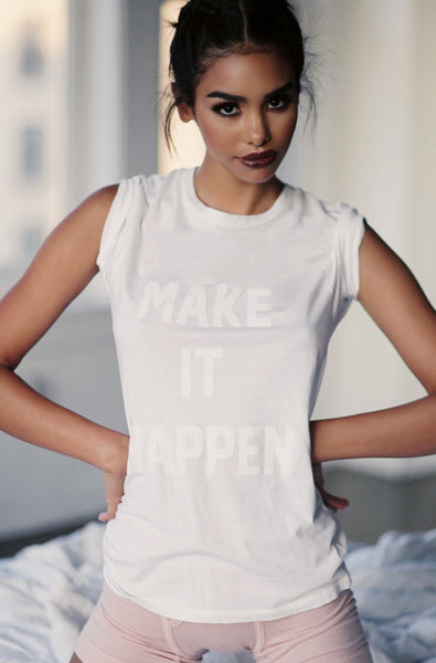 Make It Happen SS Tee (Bleached White)