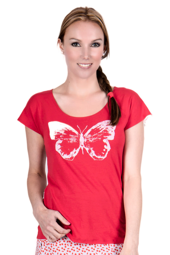 Flutterbye Top in Red - Tava