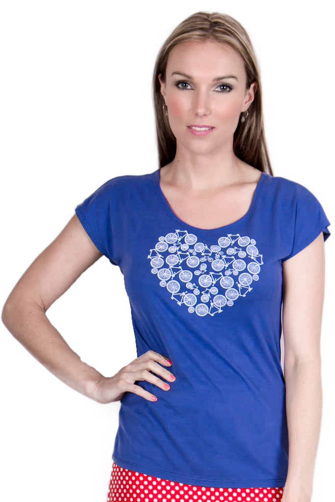 I Heart Bikes Tee in Blue - Tava  - 1