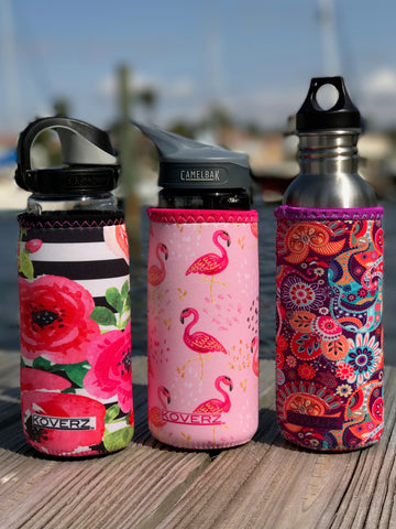 Tres Chic, Pink Flamingos & Paisley 750ml/24-30 oz Sport Bottle Insulators