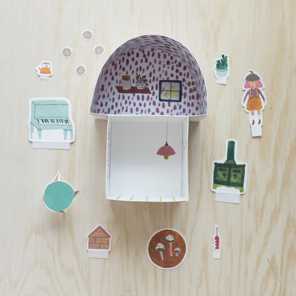 (Free Download) Gnome Home Foldable Paper Doll House