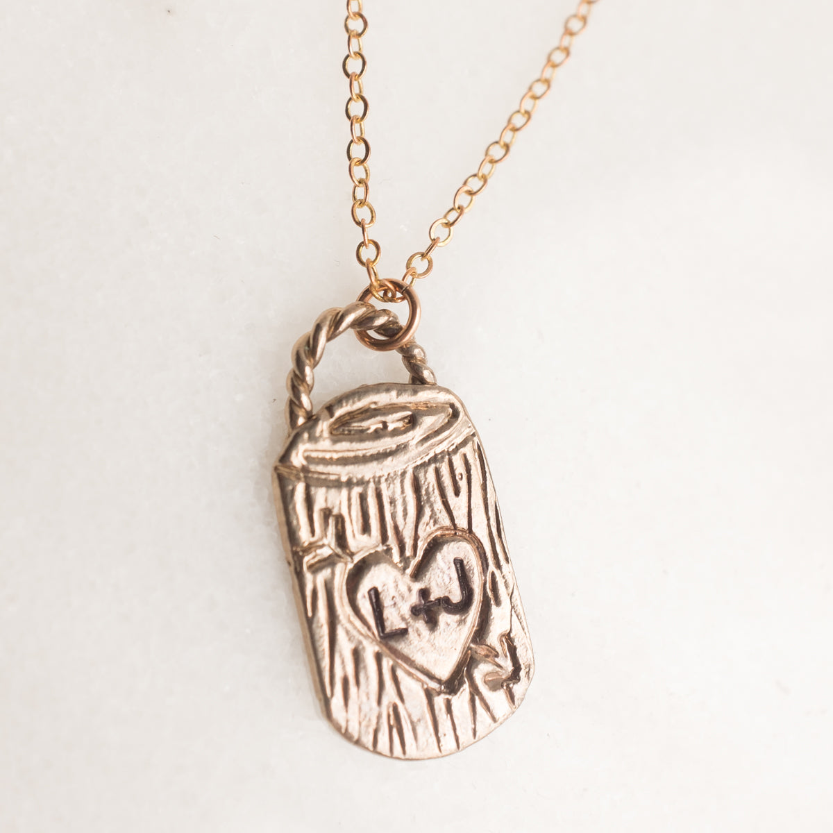 Tree Carving Necklace /// Custom Initials Necklace