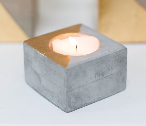 Gold + Concrete Airplant or Tealight Holder