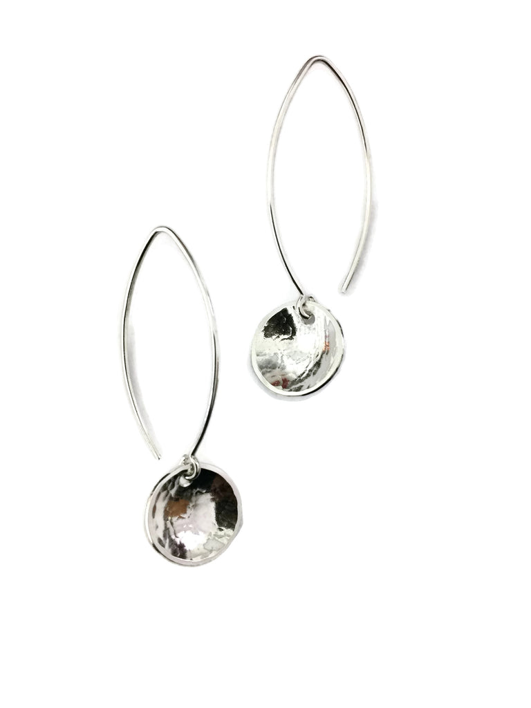 Concave Earrings - Hammered, Marquis