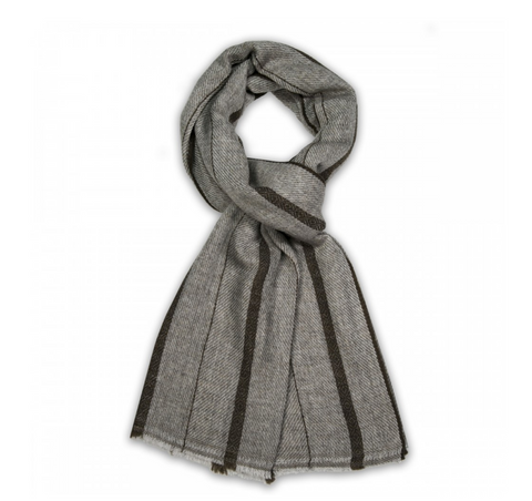 Natural Striped Cashmere Scarf, Dark