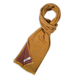 Herringbone Cashmere Muffler, Gold + Purple