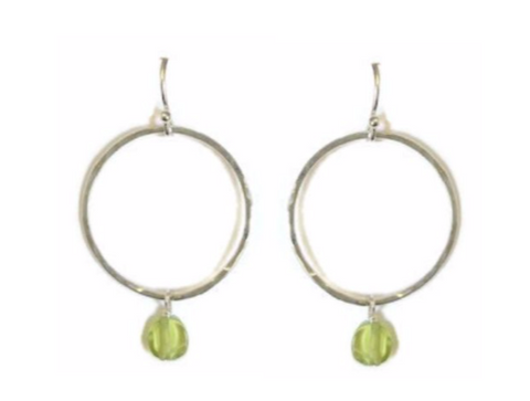 Miss B - Circle Earring w / gemstone, Small - 6 stone options