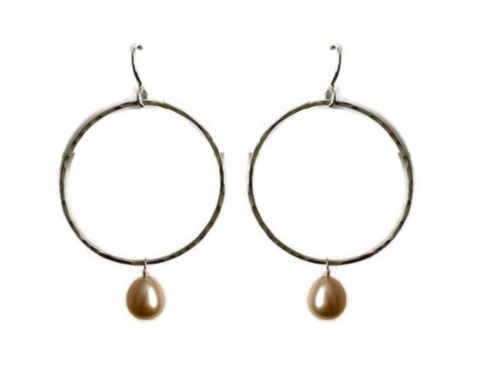 Miss B - Circle Earring w / gemstone, Medium - 3 stone options