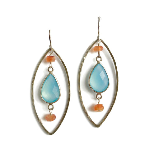 Chalcedony + Carnelian Earrings