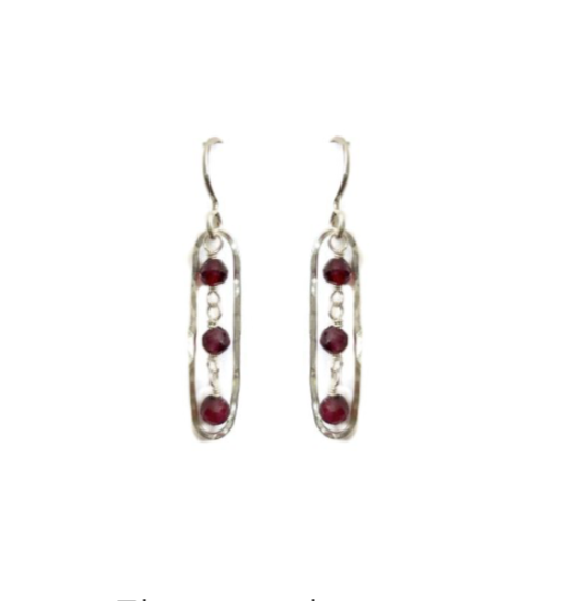 Elongated Earrings with Garnet, Small