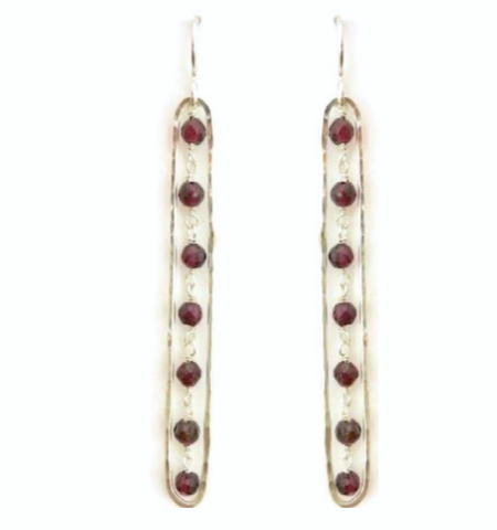 Elongated Earrings with Garnet, Large