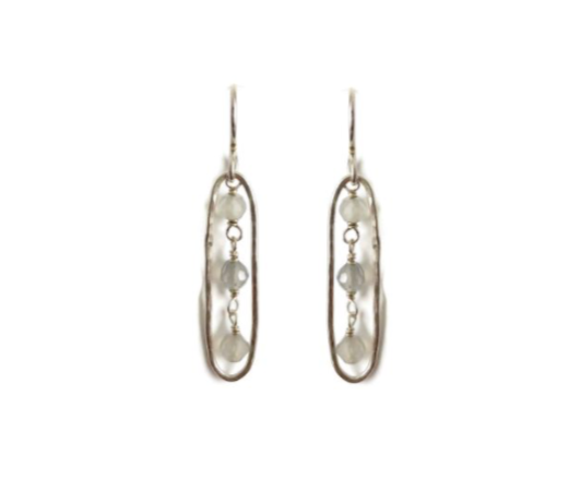 Elongated Earrings with Moonstone, Small