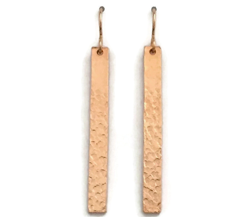Barred Earrings, Hammered - Long