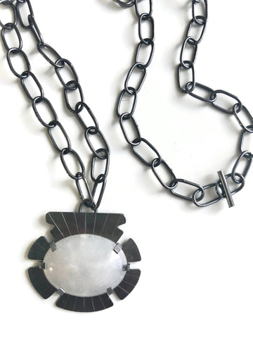 White Agate Sheild Necklace