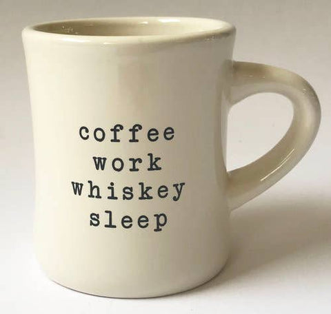 coffee ,work, whiskey, sleep  mug