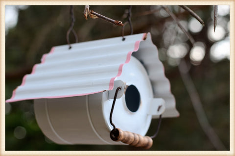 White Tin Bird House