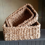 set of three nesting seagrass baskets