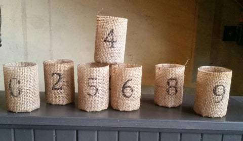 Numbered Burlap Votive Candle Holders