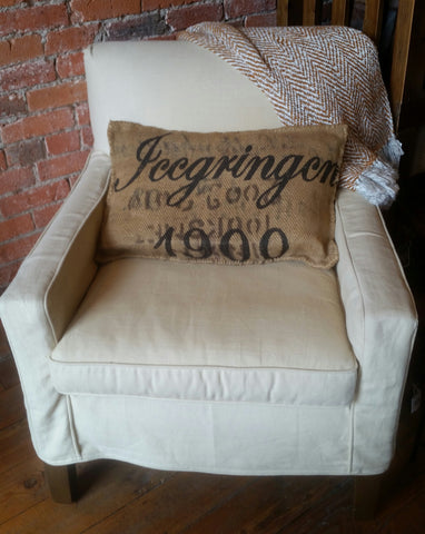 french burlap pillow cover