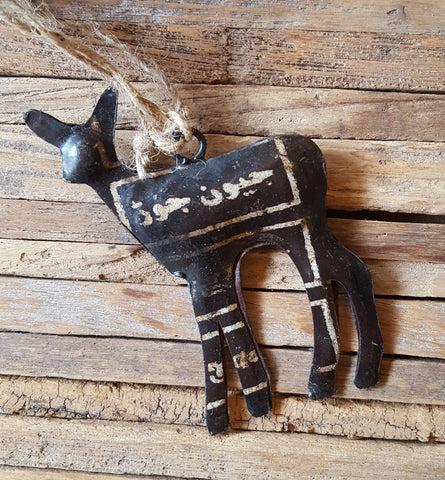 reclaimed metal deer ornament