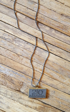 Vintage Ruler Necklace