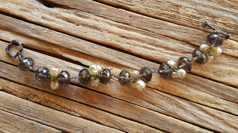 authentic fresh water pearl and silver shade bead bracelet