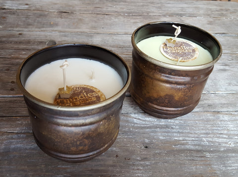 Dandles Candles 20 oz rustic metal soy candle